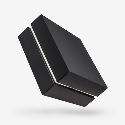 Black outside, Silver inside Square Box with Lid - closed
