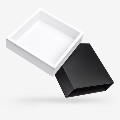 Black outside, White inside Square Rigid Sleeve Box - open