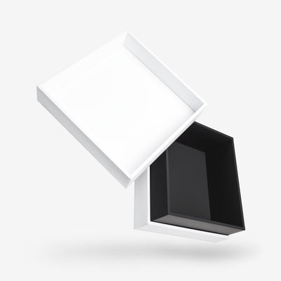 White outside, Black inside Square Box with Lid - open