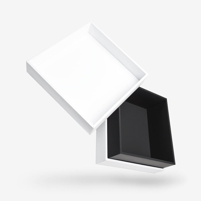 Square black tray - white lid removable lid box