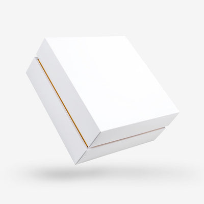 White outside, Gold inside Square Box with Lid - closed