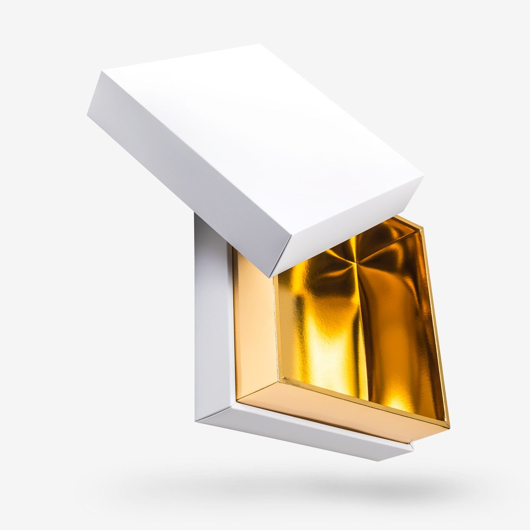 White outside, Gold inside Square Box with Lid - open