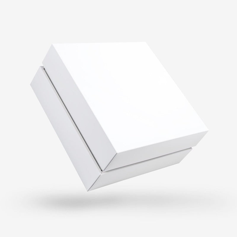 White outside, Silver inside Square Box with Lid - open