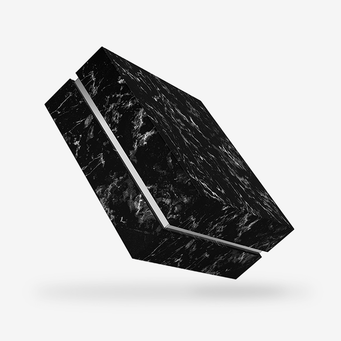 Square silver tray - black marble removable lid box