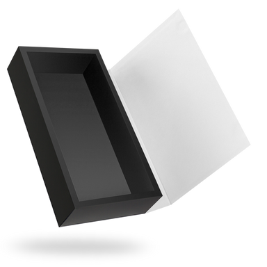 Rectangular black tray - white lid magnetic closure box