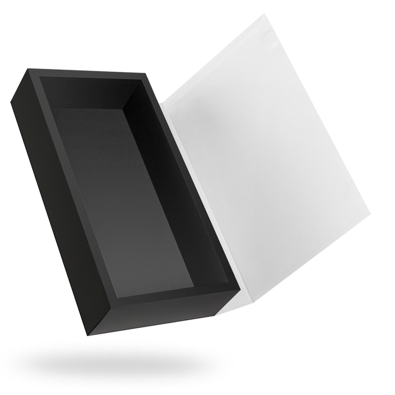 White outside, Black inside Rectangular Magnetic Box - closed