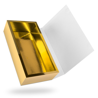 White outside, Gold inside Rectangular Magnetic Box - open