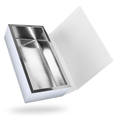 White outside, Silver inside Rectangular Magnetic Box - open