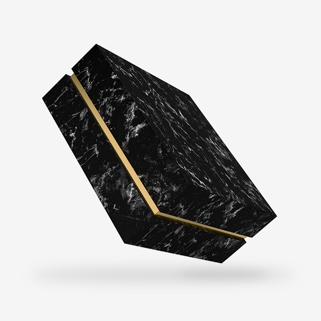 Black Marble outside, Gold inside Box with Lid - closed