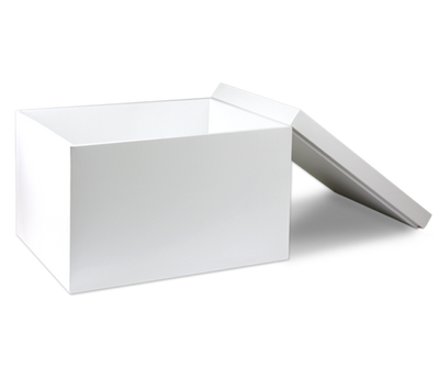 White Storage Box with Lid - open