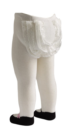 Mary Jane Lacy Baby Tights in White - DAMAGED BOX