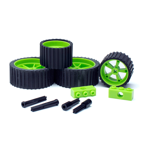 meeperBOT V2.0 Wheel/Axle 4Pk. Neon Green