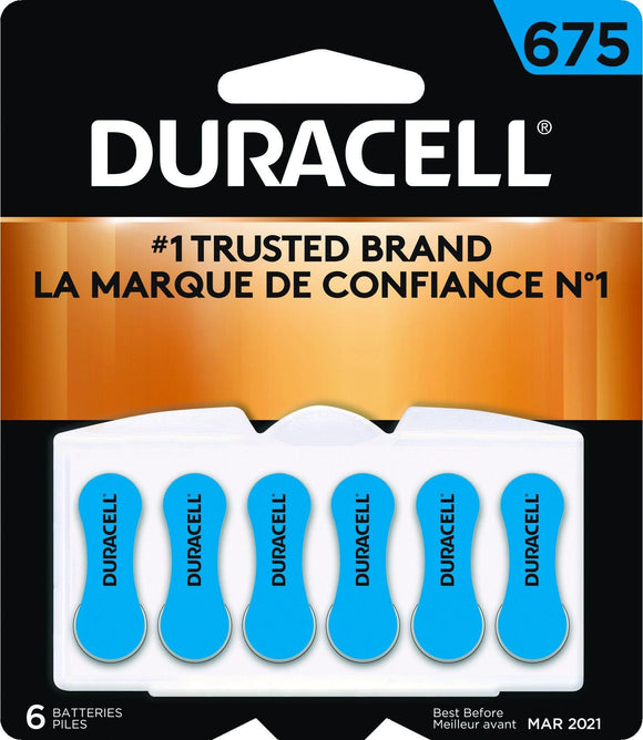 DA675B6W Duracell #675 Zinc Air Hearing Aid Battery with EasyTab - Package of 6
