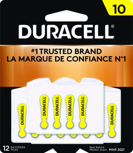 Duracell #10 Zinc Air Hearing Aid Battery with EasyTab - Package of 12