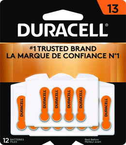 DA13B12W Duracell Hearing Aid Batteries with Easy-Fit Tab, Size 13, 12 Pack