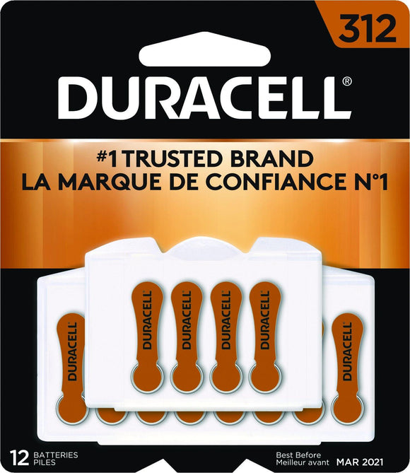DA312B12W Duracell #312 Zinc Air Hearing Aid Battery with EasyTab - Package of 12