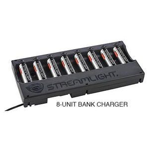 20223 - 18650 Streamlight 8-Unit Li-ion Battery Bank Charger - with batteries - 12V DC