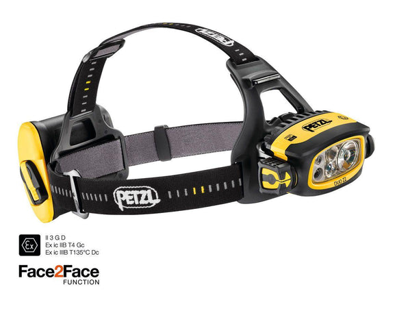 E80AHB DUO Z2 Powerful multi-beam headlamp that runs on standard batteries, with FACE2FACE anti-glare function, for use in ATEX hazardous areas. 430 lumens - Alexander Battery