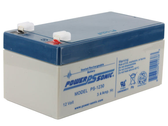 PS-1230F1 Power-Sonic AGM General Purpose 3.4Ah 12V Rechargeable Sealed Lead Acid (SLA) Battery - F1 Terminal