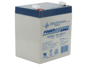 PS-1250F1 Power-Sonic AGM General Purpose 5Ah 12V Rechargeable Sealed Lead Acid (SLA) Battery - F1 Terminal
