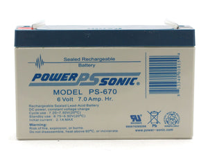 PS-670 Power-Sonic AGM General Purpose PS-670 7Ah 6V Rechargeable Sealed Lead Acid (SLA) Battery - F1 Terminal