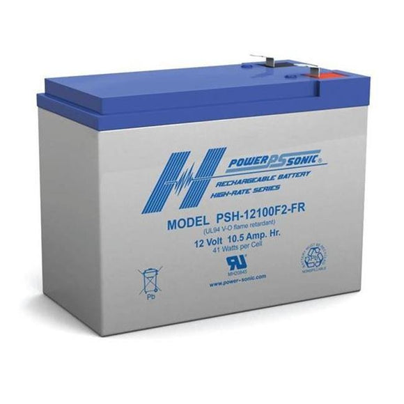 PSH-12100F2FR - Powersonic Sealed Lead Acid - 12V/10.5AH Flame Retardant Battery