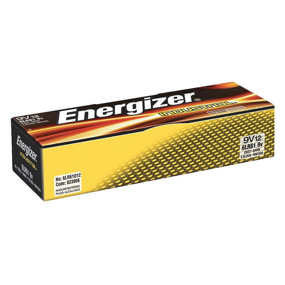 EN22 Energizer 9V Alkaline Industrial Batteries, Box of 12
