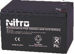 N12-12T2 NITRO Battery Scealed lead Acid 12V 12AH Terminal F2 - Alexander Battery