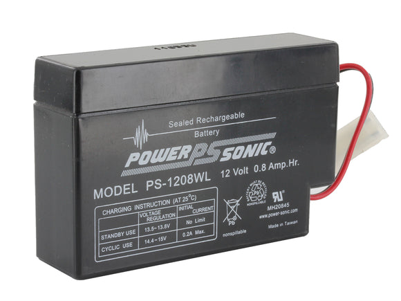 PS-1208WL Power-Sonic AGM General Purpose PS-1208 0.8Ah 12V Rechargeable Sealed Lead Acid (SLA) Battery - WL Terminal