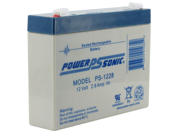 PS-1228 Power-Sonic AGM General Purpose 2.8Ah 12V Rechargeable Sealed Lead Acid (SLA) Battery - F1 Terminal