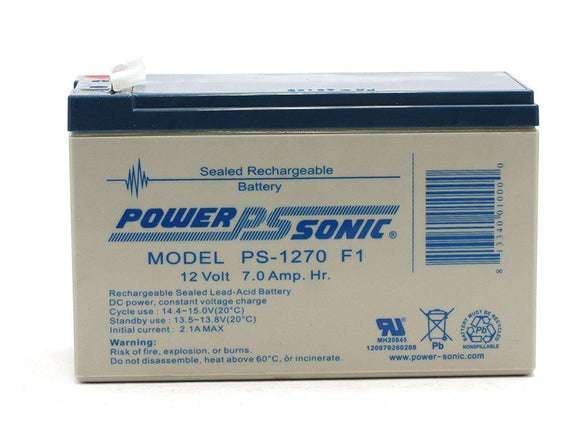 PS-1270F1 Power-Sonic AGM General Purpose PS-1270 7Ah 12V Rechargeable Sealed Lead Acid (SLA) Battery - F1 Terminal
