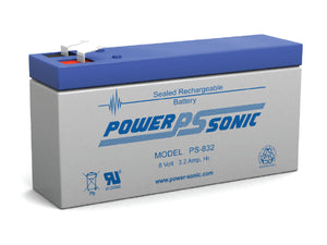 PS-832 Power-Sonic 3.2AH 8V Rechargeable Sealed Lead Acid (SLA) Battery - F1 Terminal