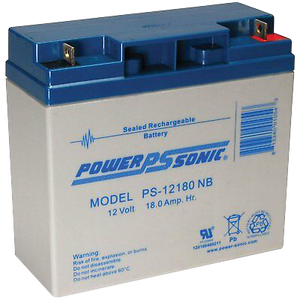 PS-12180NB - Powersonic Sealed Lead Acid Battery, 12V/18AH Nut and Bolt terminals