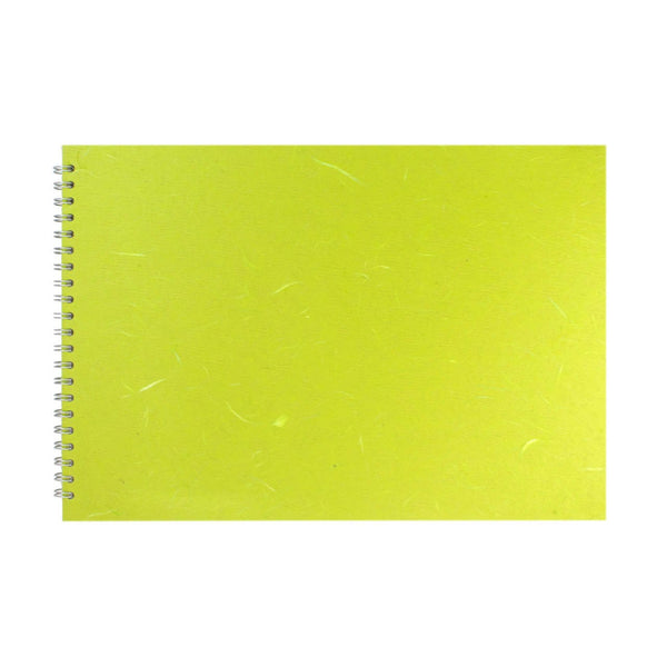A3 Landscape, Lime Green Watercolour Book by Pink Pig International
