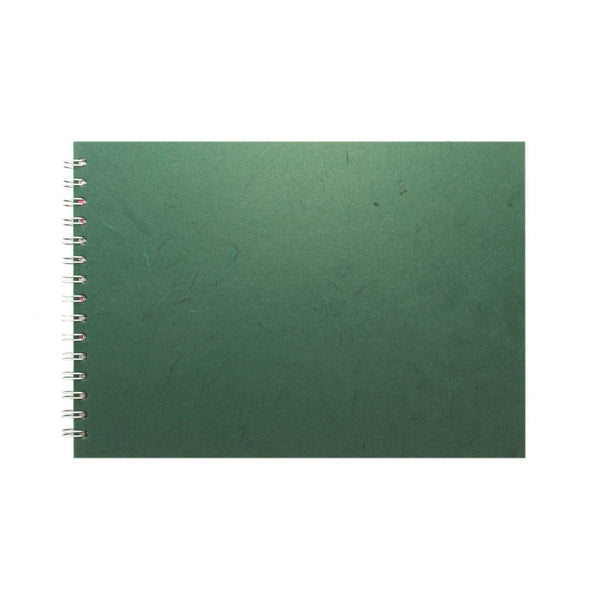A4 Landscape, Dark Green Watercolour Book by Pink Pig International