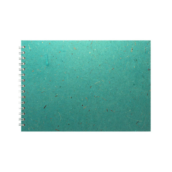 A4 Landscape, Turquoise Watercolour Book by Pink Pig International
