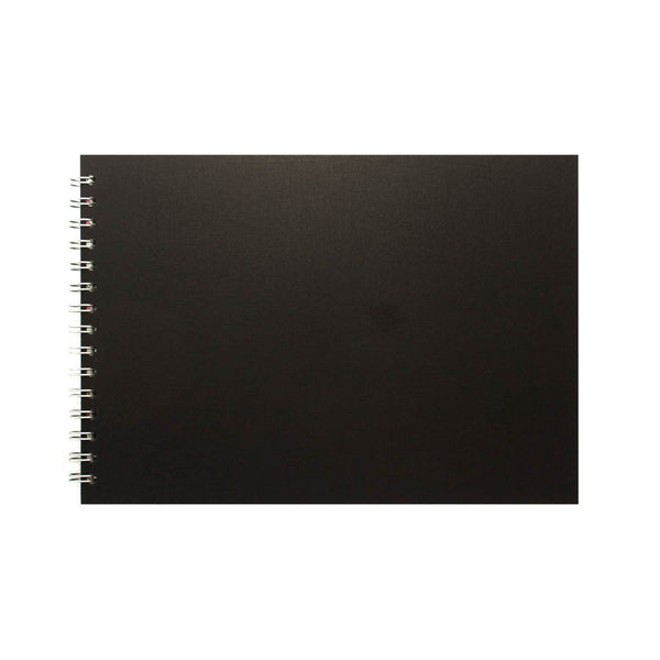 A4 Landscape, Black Card Kids Drawing Pad by Pink Pig International