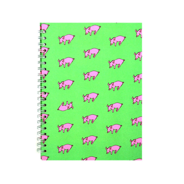 A4 Portrait, Meadow Green Notebook by Pink Pig International