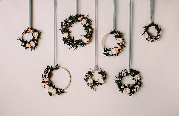 floral hoop and seamless backdrop