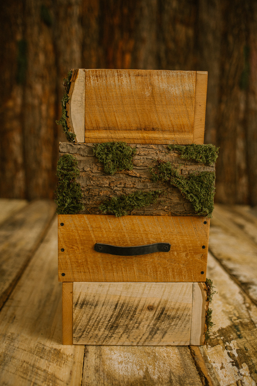 rustic moss 4 sided crate/drawer