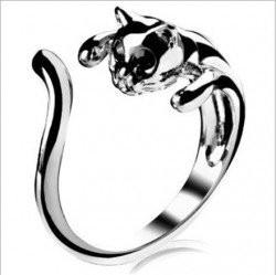 ★ Nice and Trendy - Cute Silver Cat Shaped Ring With Rhinestone Black Eyes