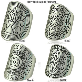 Nice And Trendy - Bohemia Jewelry Tibetan Silver Plated Ring 4PCS Set