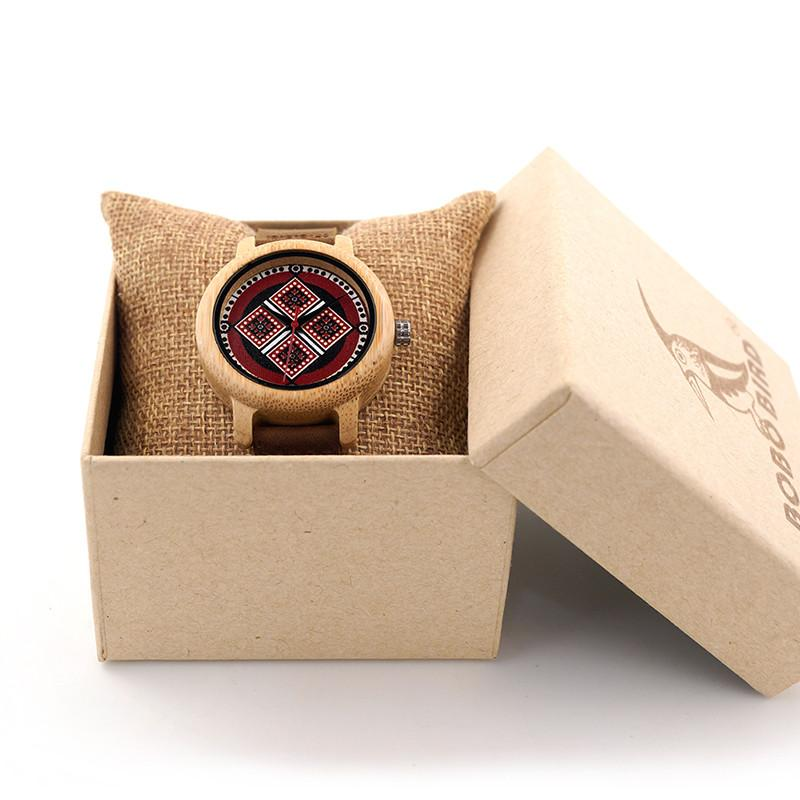 Women's Luxury Bamboo Wooden Wristwatches With Genuine Cowhide Leather Band