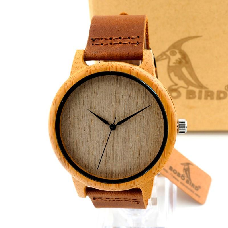 Men's Luxury Bamboo Wooden Wristwatches With Genuine Cowhide Leather Band