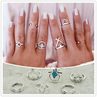 Vintage Silver Plated Simple Arrow finger ring set 6 pieces