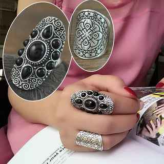 Vintage Tibetan Silver Plated Unique Carving Metal Ring and Black Faux Stone Ring Set 2pcs/Set