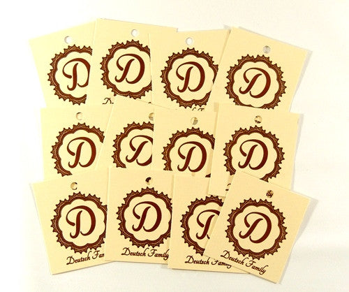 12 Ivory Personalized Tags