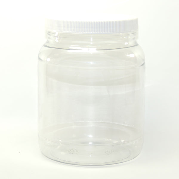 Clear plastic round wide-mouth jars - 1/2 gallon - with white lid