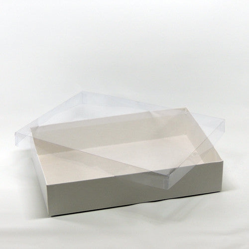 "White box w/ clear vinyl lid 10"" x 7"" x 2"""
