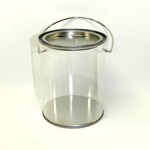 "Clear paint bucket 5"" H  x 3 3/4"" D"